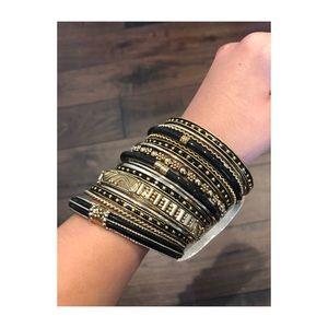Amrita Singh Black and Gold Bangles set of 18